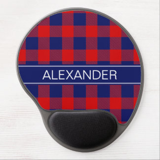 Red Navy Blue Buffalo Check Plaid Name Monogram Gel Mouse Pad