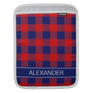 Red Navy Blue Buffalo Check Plaid Name Monogram Sleeve For iPads