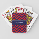 "Red, Navy Blue LG Chevron Navy Blue Name Monogram Playing Cards<br><div class=""desc"">Red and Navy Blue Large Chevron Zig Zag Pattern, Navy Blue Ribbon Name Monogram Label Customize this with your name, monogram or other text. You can also change fonts, adjust font sizes and font colors, move the text, add text fields, etc. Please note that this is a digitally created graphic...</div>"
