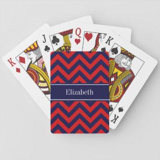Red, Navy Blue LG Chevron Navy Blue Name Monogram Playing Cards