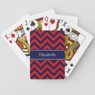 Red, Navy Blue LG Chevron Navy Blue Name Monogram Playing Cards