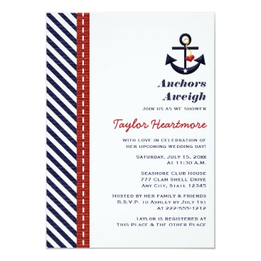 Valentines Themed Red Navy Blue Nautical Bridal Shower Invitations