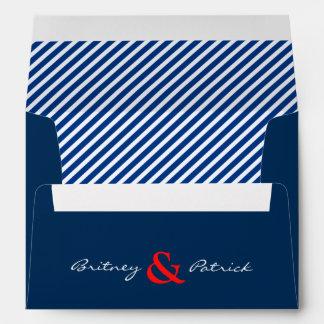 Red Navy Blue Nautical Striped Wedding Envelopes