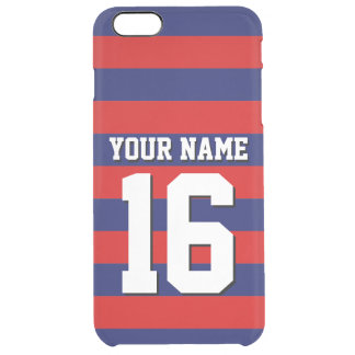 Red Navy Blue Team Jersey Preppy Stripe Clear iPhone 6 Plus Case