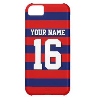 Red Navy Blue Team Jersey Preppy Stripe iPhone 5C Case
