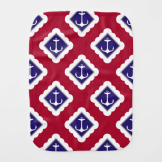 Red Navy Blue White Anchors Nautical Pattern Burp Cloth
