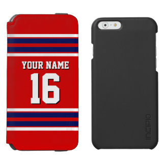 Red Navy Blue White Team Jersey Custom Number Name iPhone 6/6s Wallet Case