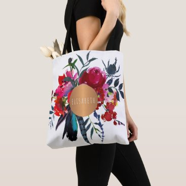 Beach Themed Red navy boho bouquet copper monogram trendy tote bag