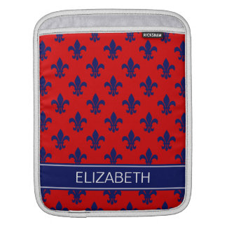 Red Navy Fleur de Lis Navy Name Monogram iPad Sleeve