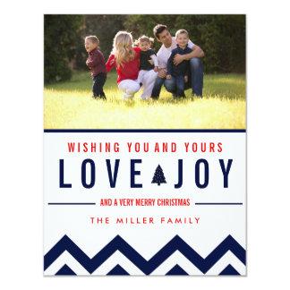 Red + Navy Love & Joy Holiday Photo Christmas Card