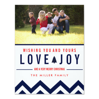 Red + Navy Love & Joy Holiday Photo Christmas 4.25x5.5 Paper Invitation Card