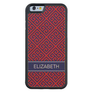 Red Navy Med Greek Key Diag T Navy Name Monogram Carved® Maple iPhone 6 Bumper