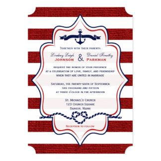 Red, Navy Nautical, FAUX Burlap Stripes Wedding 5x7 Paper Invitation Card