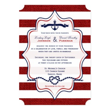 Red, Navy Nautical, FAUX Burlap Stripes Wedding Custom Announcement