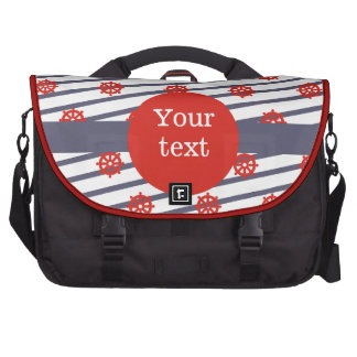 Red & Navy Nautical Pattern Products Laptop Computer Bag
