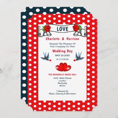 Red Navy Rockabilly Polka Dot Wedding Invitation