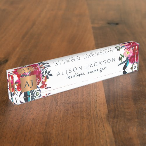 Red navy watercolor floral gold copper monogrammed desk name plate