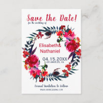 Red navy watercolor peonies save date wedding save the date