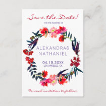 Red navy watercolor wildflowers save date wedding save the date
