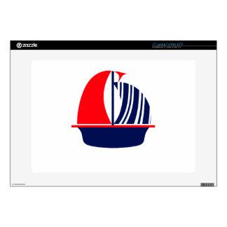 """Red Navy White Sail Boat 15"""" Laptop Skin"""