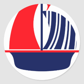 Red Navy White Sail Boat Classic Round Sticker