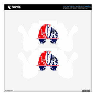 Red Navy White Sail Boat Decal For PS3 Controller