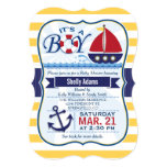 Red, Navy, & Yellow Nautical Sailboat Baby Shower 5x7 Paper Invitation Card