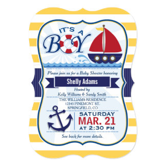 Red, Navy, & Yellow Nautical Sailboat Baby Shower Card