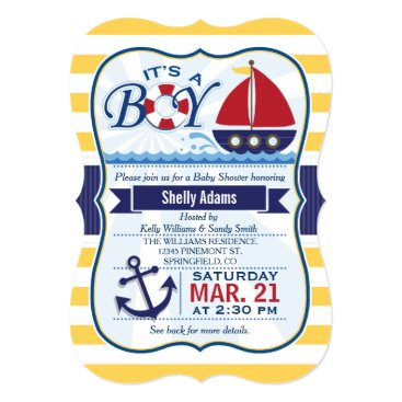 Beach Themed Red, Navy, & Yellow Nautical Sailboat Baby Shower Card