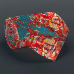 """red neck tie<br><div class=""""desc"""">Red &amp; sea green abstract printed neck tie.</div>"""