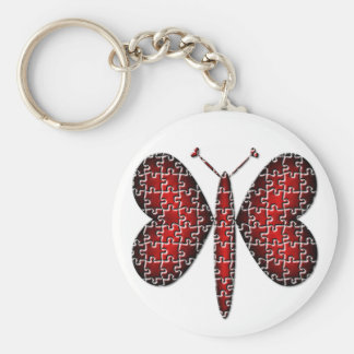 Red Neon Puzzle Hearts Butterfly Keychain