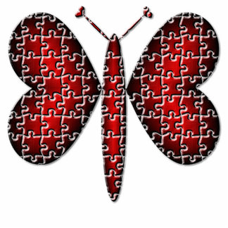 Red Neon Puzzle Hearts Butterfly Photo Cutouts
