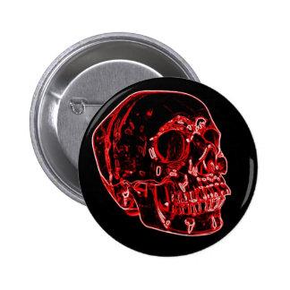 Red Neon Skull Button