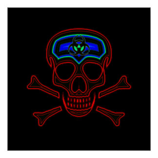 Red Neon Skull & Crossbones Poster