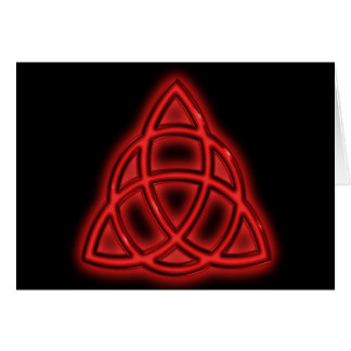 Red Neon Triquetra Card