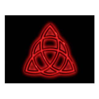 Red Neon Triquetra Postcard