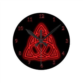 Red Neon Triquetra Round Clock