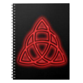 Red Neon Triquetra Spiral Notebook