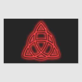 Red Neon Triquetra Rectangle Sticker