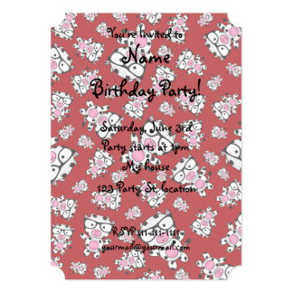 Red nerd cow pattern 5x7 paper invitation card