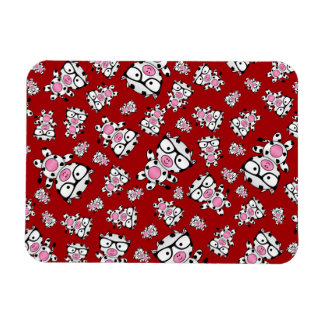 Red nerd cow pattern rectangle magnets