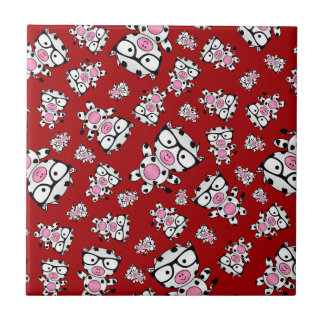 Red nerd cow pattern small square tile
