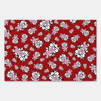 Red nerd cow pattern lawn signs