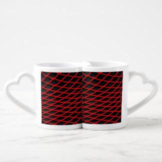 Red net pattern coffee mug set