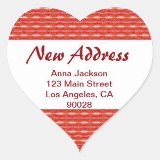 Red New Address Heart Sticker