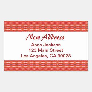 Red New Address Rectangular Sticker