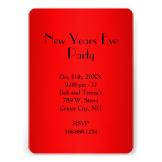 Red New Years Eve Invitation Card