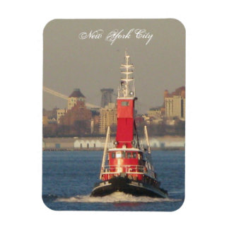 red new york city tall ship tug boat magnet