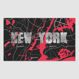 Red New York Map Rectangular Sticker