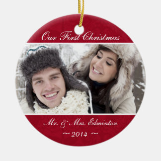 Red Newlywed First Christmas Ornament